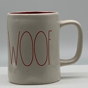 Rae Dunn artisan collection Magenta Woof mug red